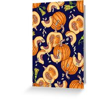 Pumpkin night life pattern Greeting Card