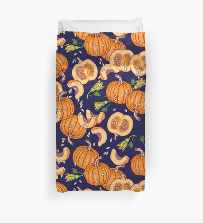 Pumpkin night life pattern Duvet Cover