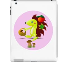 cute hedgehog collects apples and mushrooms in the forest iPad Case/Skin