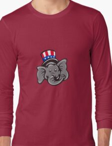 Republican Elephant Mascot Head Top Hat Cartoon Long Sleeve T-Shirt