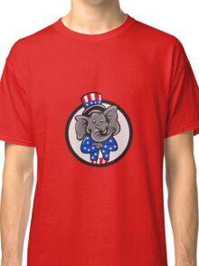 Republican Elephant Mascot Arms Crossed Circle Cartoon Classic T-Shirt