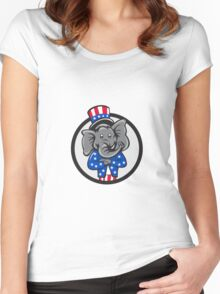 Republican Elephant Mascot Arms Crossed Circle Cartoon Women's Fitted Scoop T-Shirt