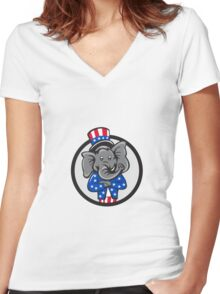 Republican Elephant Mascot Arms Crossed Circle Cartoon Women's Fitted V-Neck T-Shirt