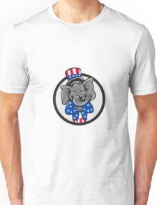 Republican Elephant Mascot Arms Crossed Circle Cartoon Unisex T-Shirt