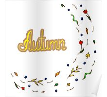 Autumn hand lettering text with leaves Poster