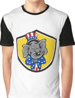 Republican Elephant Mascot Arms Crossed Shield Cartoon Graphic T-Shirt