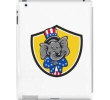 Republican Elephant Mascot Arms Crossed Shield Cartoon iPad Case/Skin
