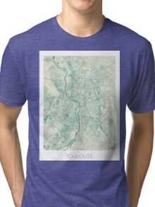 Toulouse Map Blue Vintage Tri-blend T-Shirt