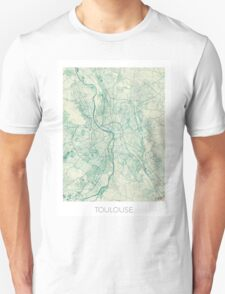 Toulouse Map Blue Vintage Unisex T-Shirt