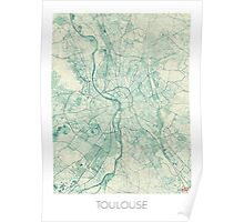 Toulouse Map Blue Vintage Poster