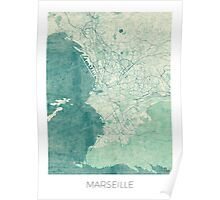 Marseille Map Blue Vintage Poster
