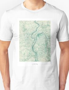 Lyon Map Blue Vintage Unisex T-Shirt