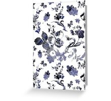 Inked Toile Wild Rose in Blue Greeting Card