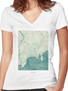 Nice Map Blue Vintage Women's Fitted V-Neck T-Shirt
