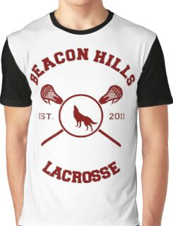 Beacon Hills Lacrosse Logo - Maroon Graphic T-Shirt