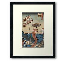 Kanasugi Bridge at Shibaura - Hiroshige Ando - 1857 Framed Print