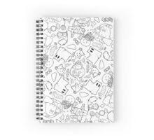 Spoopy Kitten Halloween B&W Spiral Notebook