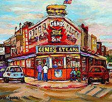 GENO'S STEAKHOUSE PHILADELPHIA PAINTINGS by Carole  Spandau
