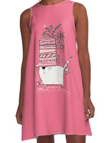 Cup of Tea Cat A-Line Dress