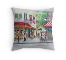 French Cafe in pastel Throw Pillow