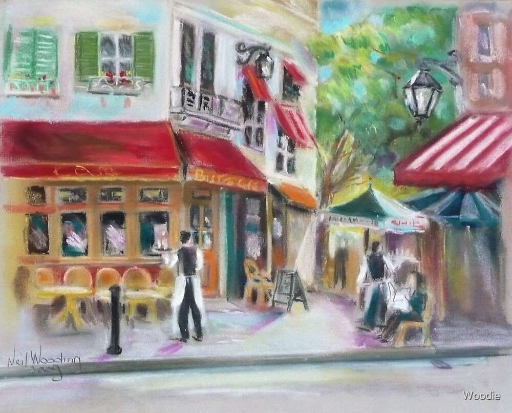 French Cafe in pastel by Woodie
