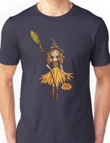 Halloween witch dressed up girl with pumpkin Unisex T-Shirt