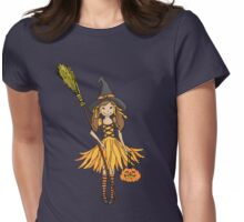 Halloween witch dressed up girl with pumpkin Womens Fitted T-Shirt
