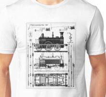 TRAIN LOCOMOTIVE; Vintage (1847) Patent Building Plan Unisex T-Shirt