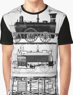 TRAIN LOCOMOTIVE; Vintage (1847) Patent Building Plan Graphic T-Shirt