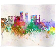 Omaha V2 skyline in watercolor background Poster