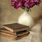 Bouquet of peonies and old books by JBlaminsky