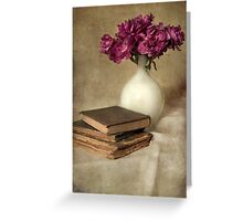 Bouquet of peonies and old books Greeting Card