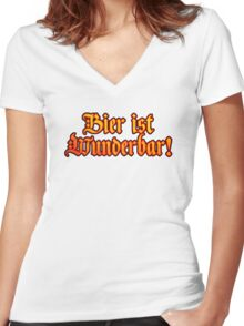 Vintage Classic Bier Ist Wunderbar! Beer Is Wonderful! Women's Fitted V-Neck T-Shirt