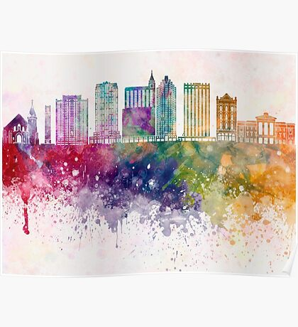 Raleigh V2 skyline in watercolor background Poster