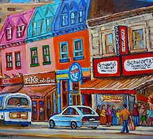 CANADIAN ART MONTREAL ART JEWISH STYLE DELI PAINTINGS MAIN STREET MONTREAL by Carole  Spandau