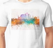Seattle V2 skyline in watercolor background Unisex T-Shirt