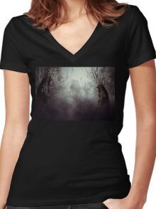 Spooky Witch House in Mist Women's Fitted V-Neck T-Shirt