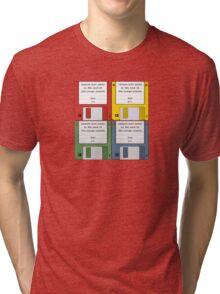 Leisure Suit Larry on 4 floppy discs Tri-blend T-Shirt
