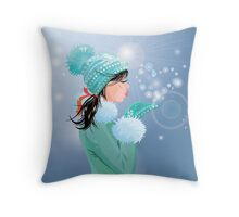 Beautiful brunette girl with warm blue winter hat  Throw Pillow