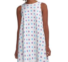Blue and Lavender pattern A-Line Dress