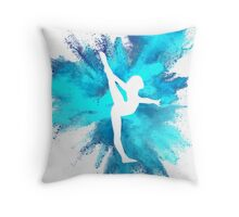 Gymnast Silhouette - Blue Explosion  Throw Pillow
