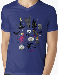 Retro Halloween - on Turquoise Mens V-Neck T-Shirt