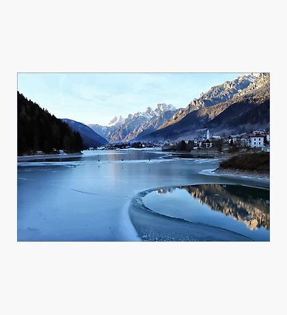 Clouds Lake Landscape Mountains  Photographic Print