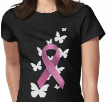 Pink Ribbon Support Breast Cancer Awareness Womens Fitted T-Shirt