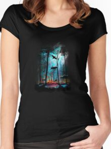 Shark In Forest Women's Fitted Scoop T-Shirt