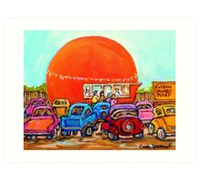 CANADIAN ART COLORFUL CANADIAN PAINTINGS POPULAR MONTREAL DRIVE-INS CAROLE SPANDAU Art Print