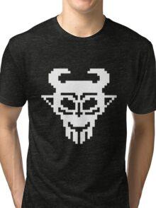 Pixel Devil - Stencil Style - White Version Tri-blend T-Shirt