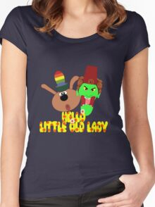"""Chorlton & Kettle Witch-""""Hello, Little Old Lady"""" Women's Fitted Scoop T-Shirt"""