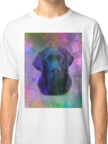 Black Labrador Dog Water Colorful Art Painting Classic T-Shirt