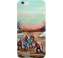 POND HOCKEY PAINTING COUNTRY SCENE iPhone Case/Skin